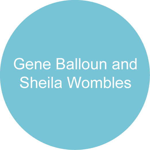 Gene Balloun and Sheila Wombles Blue circle sponsor logo