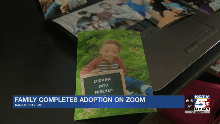 Foster family adopts via Zoom call